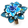 Sky Blue  Crystal Enamel Cocktail Ring (Bronze Tone)