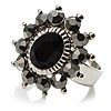 Jet-Black Crystal Fancy Ring