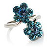 Sky Blue Crystal Flower Ring