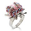Pink Crystal Ladybird Ring