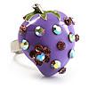 Violet Enamel Strawberry Ring