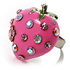 Pink Enamel Strawberry Ring