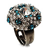 Crystal Dome Shaped Cocktail Ring (Icy Clear&amp;Teal Blue)