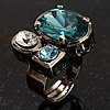 Bold Crystal Cluster Cocktail Ring (Clear&amp;Teal)