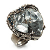 Ice Clear Crystal Contemporary Heart Ring