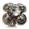 Vintage Four Petal Crystal Flower Cocktail Ring (Clear&amp;Dim Grey)