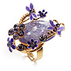Exquisite Flower And Butterfly Cocktail Ring (Gold And Purple)