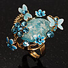 Exquisite Flower And Butterfly Cocktail Ring (Gold And Light Blue)