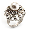 White Faux Pearl Crystal Dome Shape Ring (Silver Tone)