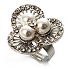 3 Petal Flower Faux Pearl Cocktail Ring (Silver Tone)