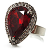 Pear-Cut Hot Red CZ Diamante Fashion Ring (Silver-Tone)