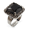 Princess-Cut Jet Black CZ Fashion Ring (Silver-Tone)