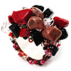 Black & Red Semiprecious Chip Cluster Flex Ring
