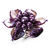 Purple Shell Flower Rings (Silver Tone)
