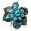 Light Blue Shell Flower Rings (Silver Tone)