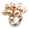 Light Cream Freshwater Pearl Cluster Ring (Silver Tone)
