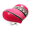 Bright Pink Enamel Diamante Asymmetrical Heart Ring (Silver Tone)