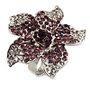 Light Purple Diamante Flower Ring (Silver Tone)