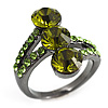 Olive Green CZ Trinity Ring (Black Tone)