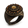 Bronze Tone Amber Coloured Crystal Shield Ring