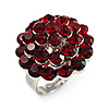 3D Crystal Dome Cocktail Ring (Silver & Burgundy Red)