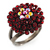 Ruby Red Coloured Crystal Cocktail Ring (Black Tone)