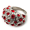 Gemset Domed Pave Cocktail Ring (Silver Tone & Red, Clear)