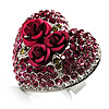 Heart Crystal Rose Cocktail Ring (Silver Tone)