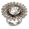 Large Floral Clear CZ Cocktail Ring (Silver Tone)