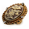 Vintage Floral Crystal Cameo Ring (Burnished Gold)