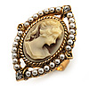 Vintage Filigree Pearl Cameo Ring (Gold Tone)