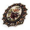Vintage Floral Crystal Cameo Ring (Bronze Tone)