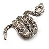 Silver Tone Swarovski Crystal Snake Ring