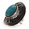 Oval Hammered Turquoise Style Fashion Ring (Burn Silver Tone)