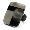 Square Shaped Shell Ring (Black Tone)