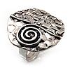 Vintage Style Swirl Hammered Round Ring (Burn Silver)