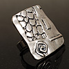 Vintage Hieroglyph Square Ring (Burn Silver Tone)
