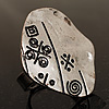 Vintage Hieroglyph Hammered Plate Ring (Burn Silver Tone)