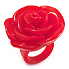 Bright Red Chunky Resin Rose Ring
