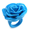 Light Blue Chunky Resin Rose Ring