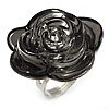 Large Dim Grey Resin Rose Cocktail Ring (Silver Tone)