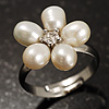 Tiny White Freshwater Pearl Flower Ring (Silver Tone)