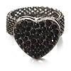 Black Swarovski Crystal Mesh Heart Ring (Gun Metal)