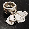 Matte Silver Tone Crystal Charm Heart Stretch Ring