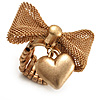Vintage Mesh Bow &amp; Heart Charm Stretch Ring (Matte Gold Tone)
