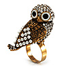 Stunning Vintage Pearl &amp; Crystal Owl Ring (Antique Gold Tone)