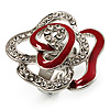 Open Crystal Red Enamel 'Rosebud' Ring (Rhodium Plated Finish)