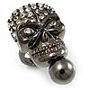 Swarovski Crystal Skull Ring (Gun Metal) - Size 8