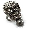 Swarovski Crystal Skull Ring (Gun Metal)