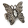 Large Diamante Butterfly Antique Silver Stretch Ring